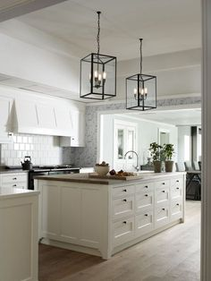kitchen lights and layout -- I love how big and open it is