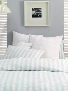 A simple, wide seersucker stripe in cotton, this European pillowcase looks smart with practically any bed linen design. Cheap Quilts, Quilts Online, Cushion Covers Online, Bed Linen Design, Scatter Cushions, Soft Furnishings, Duvet Cover Sets, Linen Bedding, Pillow Cases