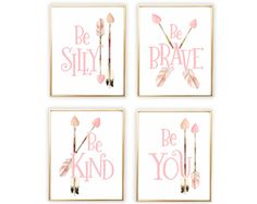 Pink Woodland Nursery, Be Brave Woodland Art, Woodland Nursery Set, Baby Girl Woodland Nursery Decor, Pink Tribal Nursery Art, 4 Prints