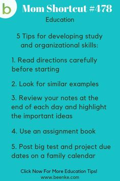 5 tips for developing study and organization skills. Want more education and study hacks like this? See article for complete list of school hacks for kids (and for parents). Tips for taking notes, studying, learning apps, and more! Learning Apps, Learning Resources, Kids Learning, Learning Spaces, Clever School, School Fun, School Stuff, School Ideas, Life Hacks For School
