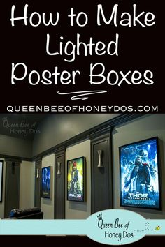 Home theaters ripado Lighted poster boxes make a great addition to a home theater, man cave or boys room! Step-by-step how to for building these. Home theaters ripado Lighted poster boxes make a Movie Theater Rooms, Home Cinema Room, Home Theater Decor, Home Theater Design, Movie Rooms, Movie Theater Basement, Home Theater Lighting, Theatre Rooms, Man Cave Garage