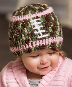 Look at this #zulilyfind! Pink Camo Football Knit Beanie #zulilyfinds