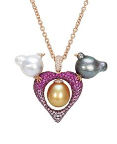 Baroque Pearls Birds and Heart Pendant By Mario Buzzanca via stonering.net