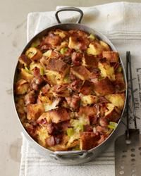 This savory ham and sausage  bread pudding needs to be refrigerated for at least 4 hours or overnight before baking, so plan accordingly.