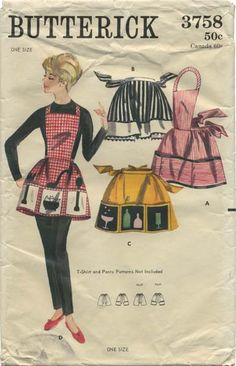 Vintage Apron Sewing Pattern | Butterick 3758 | Year 1965 | One Size