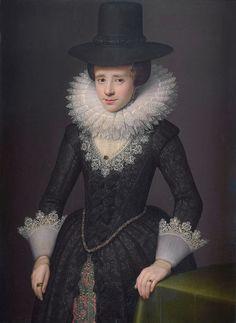 Portrait of Anna Boudaen Courten, wife of Jacob Pergens by Salomon Mesdach, 1619 - Rijksmuseum Amsterdam