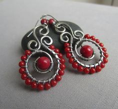 Coral Earrings/ Wire Wrapped Earrings/ Red Coral Earrings/ Silver wire Earrings with Coral/ Artisan Earrings