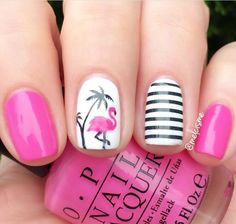 "Fancy pink flamingo manicure by the fabulous @melcisme using our Flamingo Nail Decals & Small Straight Nail Vinyls found at snailvinyls.com The awesome pink polish is OPI's ""Shorts Story"""