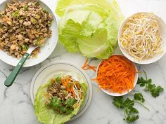 """Asian Turkey Lettuce wraps - easy and tasted good.  But next time I will serve all prepared instead of """"add your toppings"""" - looks better with carrots and bean sprouts in wrap."""