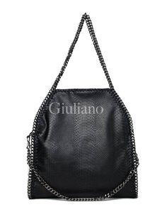 Handtas zwart croco met kettingen