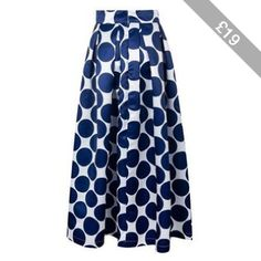 Rotita Blue Dot Print Pleated Maxi Skirt