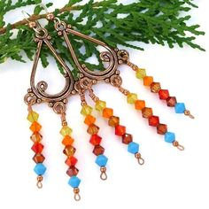 Sunset Swarovski Chandelier Earrings Handmade Copper Crystal Jewelry   ShadowDogDesigns - Jewelry on ArtFire