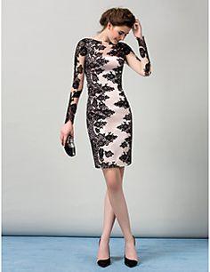 ts+couture®+koktél+party+ruha+köpeny+/+oszlop+bateau+térdig+érő+szakaszon+szatén+csipke+–+USD+$+435.00