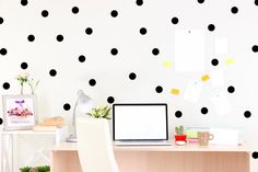 Black Polka Dot Wall Decal - Chic Home Decor - Fashion Wall Art - Office Art - Modern Wall Art - Bedroom Wall Decal - Gold Dots - Gift Ideas, Etsy  by Twelve9Printing, $13.50+ #twelve9printing #walldecals