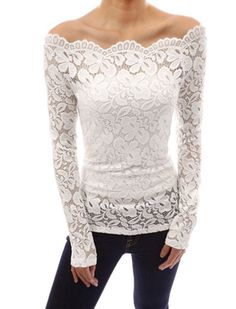 Item Type: Cute Casual Lace Blouse With Open Shoulder Decoration: Lace Pattern Type: Floral Fabric Type: Dobby Material: Cotton,Polyester Sleeve Length: Full Color: White, Black, Blue, Red Size: XS, S