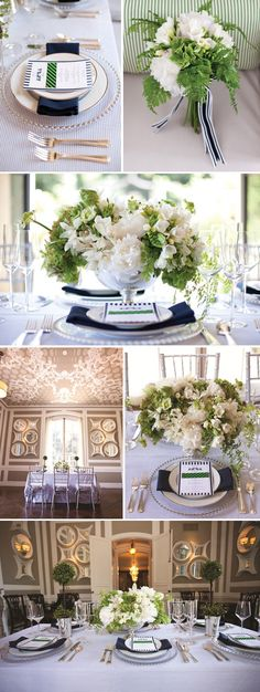 Colors, navy, green, white with silver accents