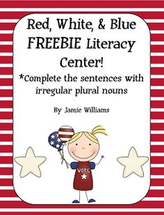 """FREE LANGUAGE ARTS LESSON - """"Red, White, and Blue: Irregular Plural Nouns"""" - Go to The Best of Teacher Entrepreneurs for this and hundreds of free lessons.   #FreeLesson   #TeachersPayTeachers   #TPT   #LanguageArts    http://thebestofteacherentrepreneurs.blogspot.com/2013/02/free-language-arts-lesson-red-white-and.html"""