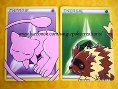 Peinture Pokemon Mew et Zigzaton sur carte énergie :)