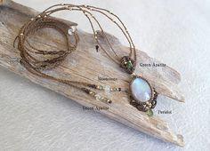 Moonstone & Peridot & Green Apatite & 14KGF Macrame Necklace