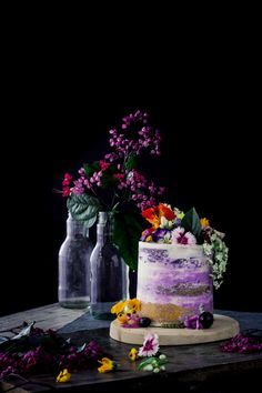 Blueberry ombre cake