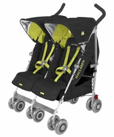 Maclaren Twin Techno 2013 Stroller - Black/Citrus Lime. Mothercare price match until 20 March 2014. The Maclaren Twin Techno stroller is built for comfort and performance for two little ones and will fit through a standard width doorway. #Kids #Children #Pushchairs