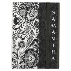 Bold Black White Floral Design iPad Air Case