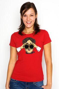Quirky Vintage Woman With Binoculars by WinkinBitsyClothing
