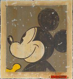 Smiling Retro Mickey Mouse art print by karlb, via Flickr