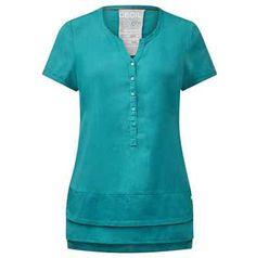 Uni-Bluse mit Lagenlook-Saum