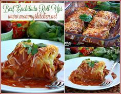 Mommy's Kitchen - Recipes From my Texas Kitchen: Beef Enchilada Roll-Ups - Help Crush Hunger. A Mexican inspired twist on traditional lasagna rolls with these easy Beef Enchilada Roll-ups. Ground Beef Recipes, Pork Recipes, Mexican Food Recipes, Cooking Recipes, Kitchen Recipes, Yummy Recipes, Cheap Healthy Dinners, Cheap Dinners, Easy Beef Enchiladas