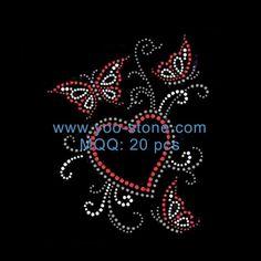 Heart Butterfly Rhinestone Transfer Designs For Dress