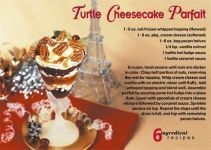 Turtle Cheesecake Parfait - Recipe postcards for Realtors. Stay in touch with your farm!