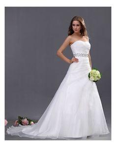 A-Line Organza Cintura di Gioiellini Abito Da Sposa Con Pieghe in Ventita Online
