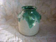 Green Pottery Vase Kitchen Crock Jar Pot 7 inch Drip Glaze Becky Schoper Vase