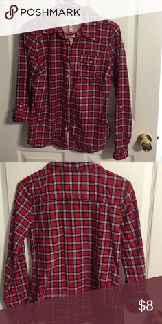 Juniors Button Down Juniors size Medium, button down. Like new condition, only worn a few times. Has 2 extra buttons attached to inside tag. Sleeves can be worn rolled up or left down. Purchased at TJ Maxx, Girl Krazy brand.  Smoke free home. Tops Button Down Shirts