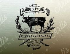 Vintage French Butcher Ad & Cow PDF PNG Digital by ArtisElements