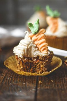 carrot cake cupcakes with coconut cream cheese frosting