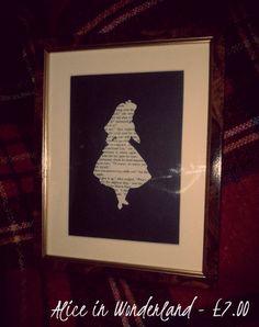 Alice in Wonderland Vintage Text Silhouette - Handcrafted - Framed