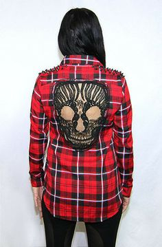 Reverse Red Flannel Skull Shirt. Ok seriously? @Chelsea Rose Hansen-Perna where do we get these...