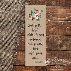 Seek ye the Lord - Bookmark Handmade Wooden, Handmade Shop, Sympathy Cards, Greeting Cards, Tag Design, Paper Gifts, Little Gifts, Seasonal Decor, Bookmarks