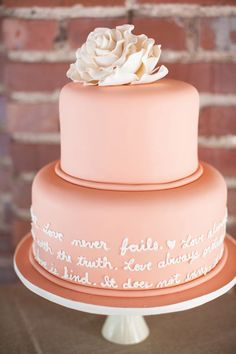 With a peachy tone and words surrounding, this cake design is incredibly romantic.