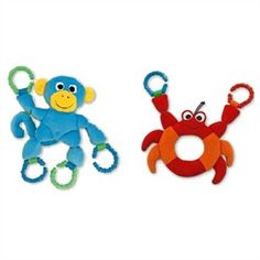 The linking crab and monkey are great sensory chew toys. These easy-grasp sensory chew toys include colorful, textured teething rings that double as easy latching loops. Just latch these sensory chew toys onto a stroller, car seat, and back pack or where ever you need convenient access to a chew toy.