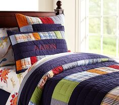 Aaron Quilted Bedding #PotteryBarnKids Dinosaur or car theme madras plaid
