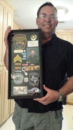 Jeff's shadow box. Police retirement.