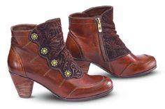 Flower-Button Ankle Boots Steampunk, Victorian, Retro