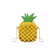 Yellow Hollow Out Pineapple Shaped Crossbody Bag (34 BAM) ❤ liked on Polyvore featuring bags, handbags, shoulder bags, yellow cross body purse, yellow crossbody, yellow shoulder bag, yellow crossbody purse and cross body
