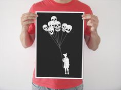 Original digital print girl skull balloon black white creepy horror blood goth art vintage poster. via Etsy.