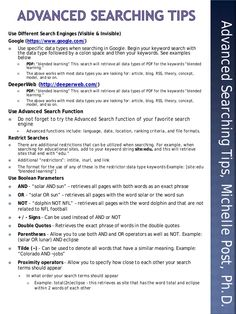 "This ""quick sheet"" provides some quick tips for using different features, data types, restrictors, and boolean parameters to perform advanced searching. Research Writing, Thesis Writing, Research Skills, Research Methods, Academic Writing, English Writing, Study Skills, Writing Skills, Research Paper"