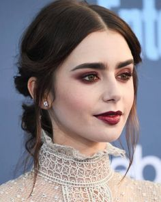Lily Collins dark makeup