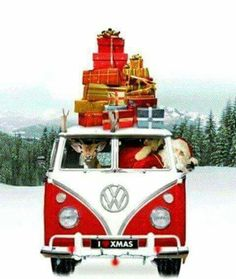 Kerstkaart vw bus wit av Kerstman, Website en Kerst